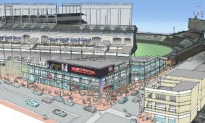An artist's rendering of proposed renovations to the venerable Wrigley Field.